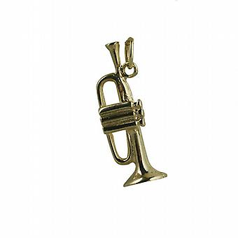 9ct Gold 27x9mm Trumpet Pendant or Charm