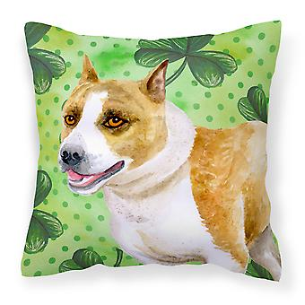 American Staffordshire St Patrick's Fabric Decorative Pillow
