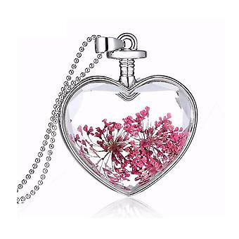 Love Heart Real Flower Necklace Pendant Silver Chain