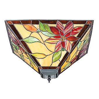 Interiors 1900 70718 Lelani 2 Light Tiffany Glass Semi Flush Ceiling F