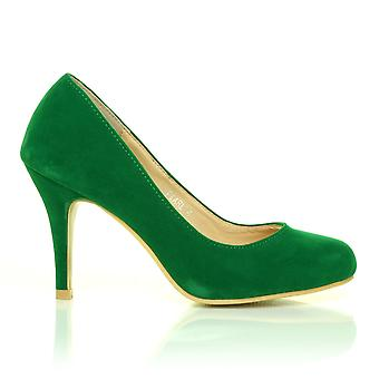 PEARL Green Faux Suede Stiletto High Heel Classic Court Shoes