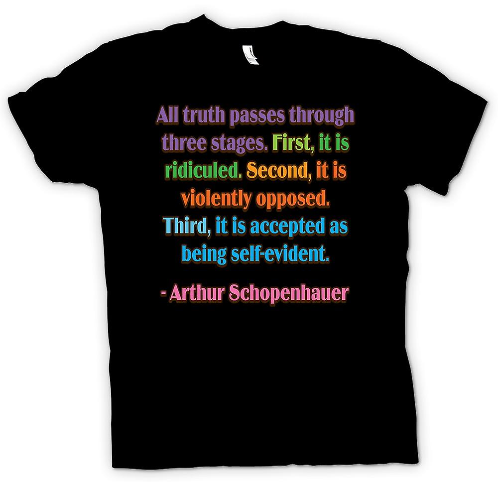 Mens T-shirt - All Truth & Three Stages Quote - Arthur Schopenhauer
