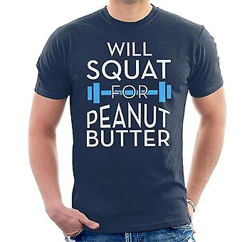 Will Squat For Peanut Butter Gym Inspiration Men's T-Shirt