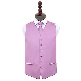 Lilac Plain Satin Wedding Waistcoat & Tie Set