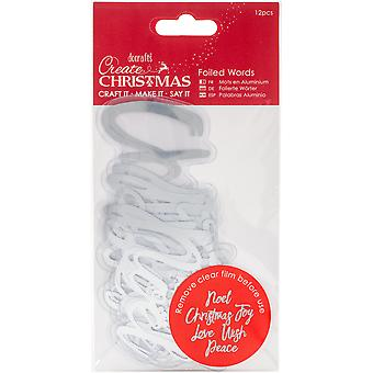 Papermania Create Christmas Foiled Words Stickers-Silver