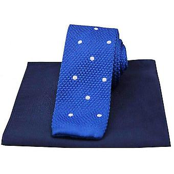 David Van Hagen Spotted Thin Knitted Silk Tie and Ribbed Handkerchief Set - Blue/White