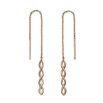 Elements Gold Thread Through Plait Drop Earrings - Rose Gold