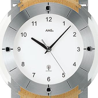 AMS wall clock 5245/18 radio with pendulum beech chrome applications mineral glass