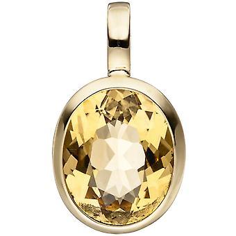 Pendant-oval 585 Gold Yellow Gold 1 citrine pendant of yellow gold citrine pendant