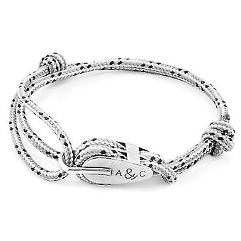 Anchor & Crew Grey Dash Tyne Silver and Rope Bracelet