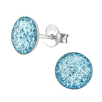 Round - 925 Sterling Silver Colourful Ear Studs
