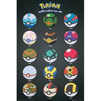 Pokemon Pokeballs Poster Poster Print