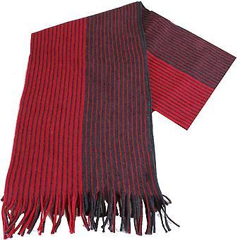 Bassin et Botham brun rayé laine écharpe - Red/Charcoal