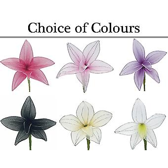6 Organza Lily Flower Picks for Crafts & Floristry