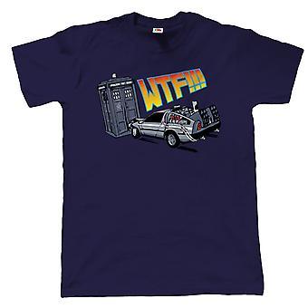 WTF Tardis v Delorean Crash T-Shirt - Dr der tilbage til fremtiden - inc 4XL 5XL