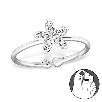Flower - 925 Sterling Silver + Crystal Toe Rings - W28623x