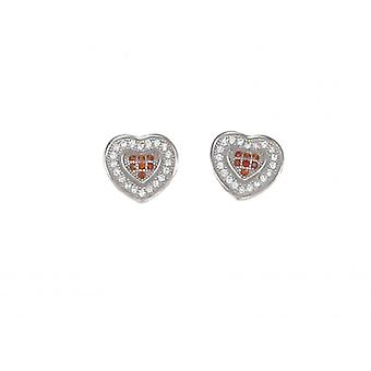 Cavendish French Red Checkered CZ Heart Earrings