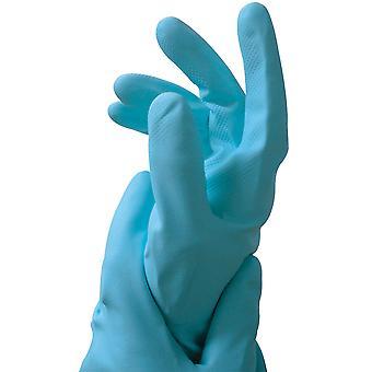 Fürsorgliche Hände große blaue Latex Gummihandschuhe