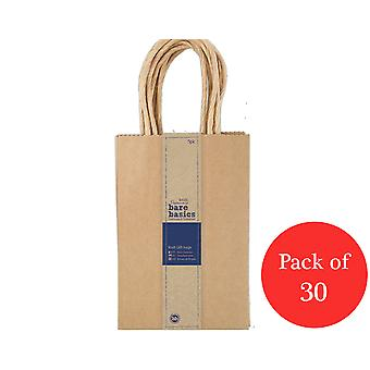 30 Papermania Small Natural Brown Kraft Gift Bags - Recycled Style