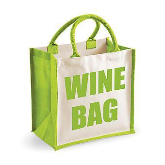 Medelstora gröna Jute väska vin väska