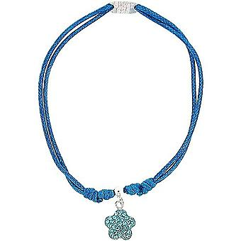 Toc Sterling Silver Blue Summer Wristband Bracelet with Crystal Flower Charm