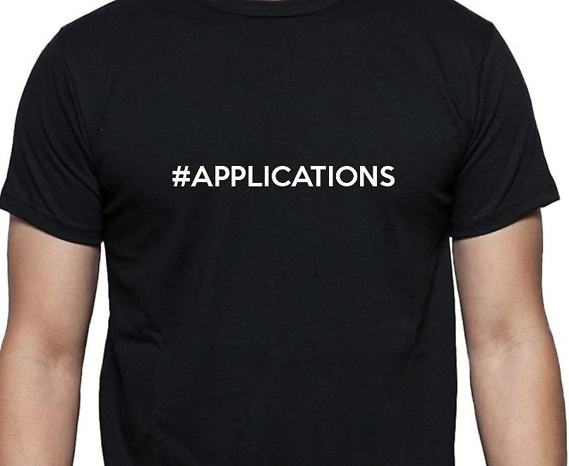 #Applications Hashag Applications Black Hand Printed T shirt