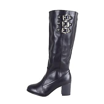 LMS Black Faux Leather Block Heel Knee High Boot With Buckles