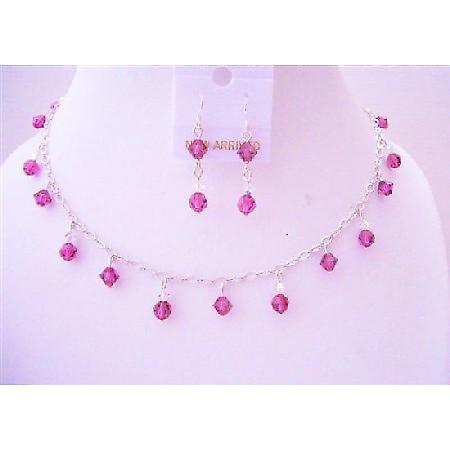 Fuchsia Swarovski Crystals Handmade Bridal w/ AB Crystals Jewelry Set