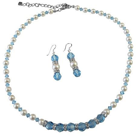 White Pearls Aquamarine Crystals Necklace Set w/ Diamond Spacer