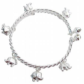 Elephant Charms Dangling Silver Cuff Bracelet Great Holiday Gift