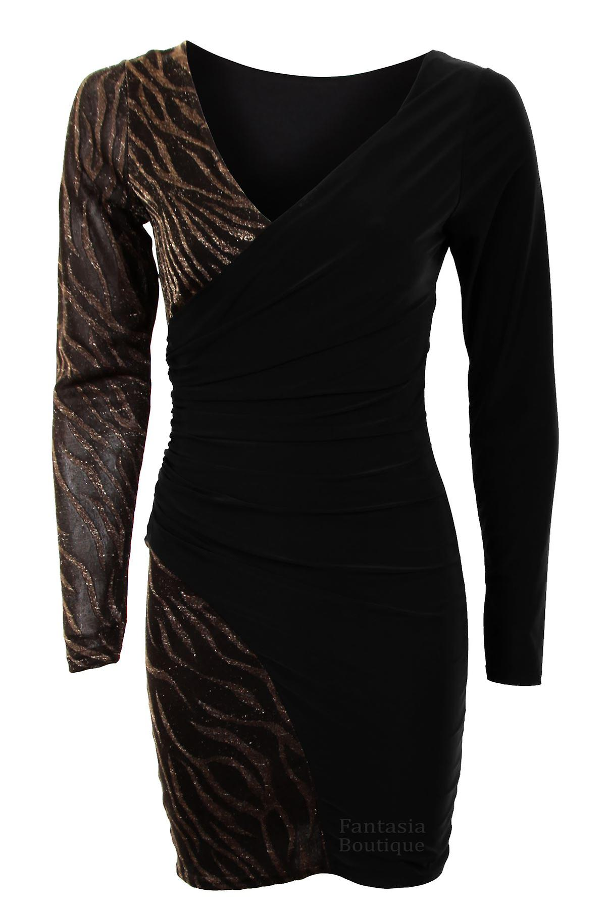 Ladies Longsleeve Cross Waterfall Contrast Tiger Glitter Women's Dress