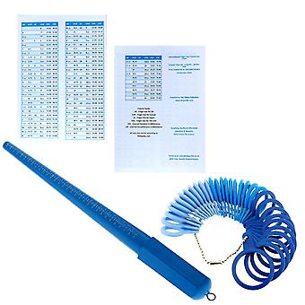 Lightweight Blue UK Ring Stick Size A- Z & 1 - 6, + 32 pc Ring Gauge, with International Conversion Chart - The Olivia Collection