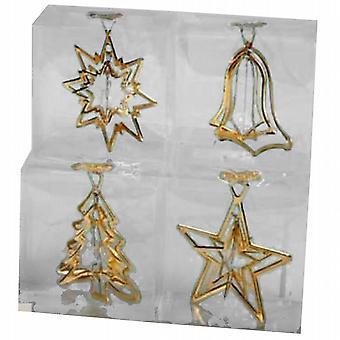 Spinning juletre dekorasjon sett 9Cm med sentrum krystall - gull - av 4 - (810634)