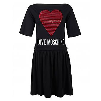 Love Moschino con paillettes cuore Swing Dress