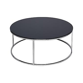 Gillmore Space Black Glass And Silver Metal Contemporary Circular Coffee Table
