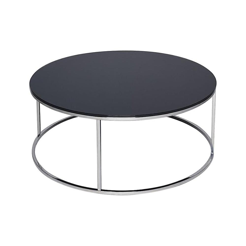 Gillmore Space noir Glass And argent Metal Contemporary Circular Coffee Table