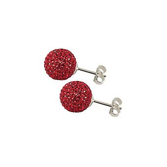 Eternal Collection Shamballa 10mm Red Glitter Ball Silver Tone Stud Pierced Earrings