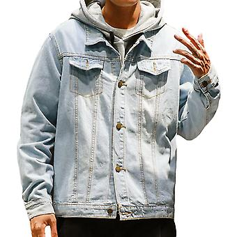Allthemen mens blå denim jacka Regular fit bomull Trucker Coat