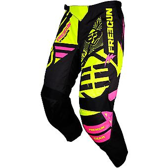Freegun Neon Yellow-Pink 2018 Devo Nerve Kids MX Pant