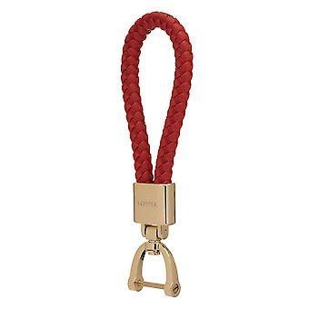 Schipper hanger sleutelhanger leder/nylon goud/rood 8054