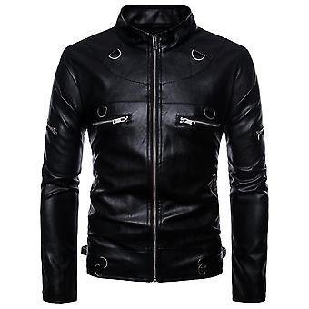 Allthemen Men-apos;s Manteau en cuir Automne Stand Collar Zipper Fashion Veste en cuir