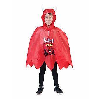 Red Devil Poncho Kids Costume Hooded Cloak Costume Kids One Size Carnival Halloween Devil