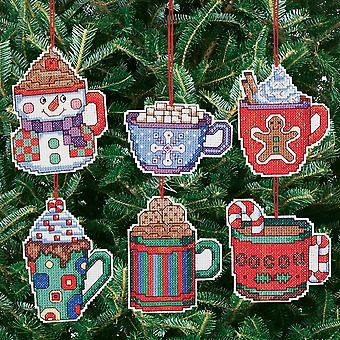Cocoa Mug Ornaments Counted Cross Stitch Kit 3 1 2