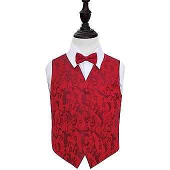 Boy's Burgundy Passion Floral Patterned Wedding Waistcoat & Bow Tie Set