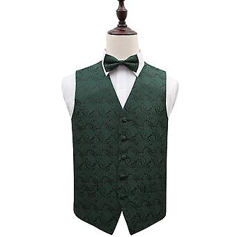 Emerald Green Paisley Patterned Wedding Waistcoat & Bow Tie Set