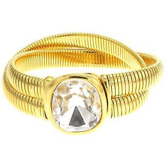 Kenneth Jay Lane cristallo Stobe 2 riga serpente placcato oro bracciale...