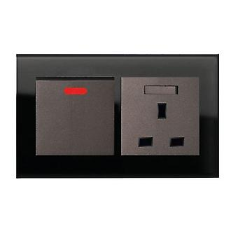 I LumoS AS Luxury Black Crystal Glass Double 45A Switch with Switched 13A UK Socket