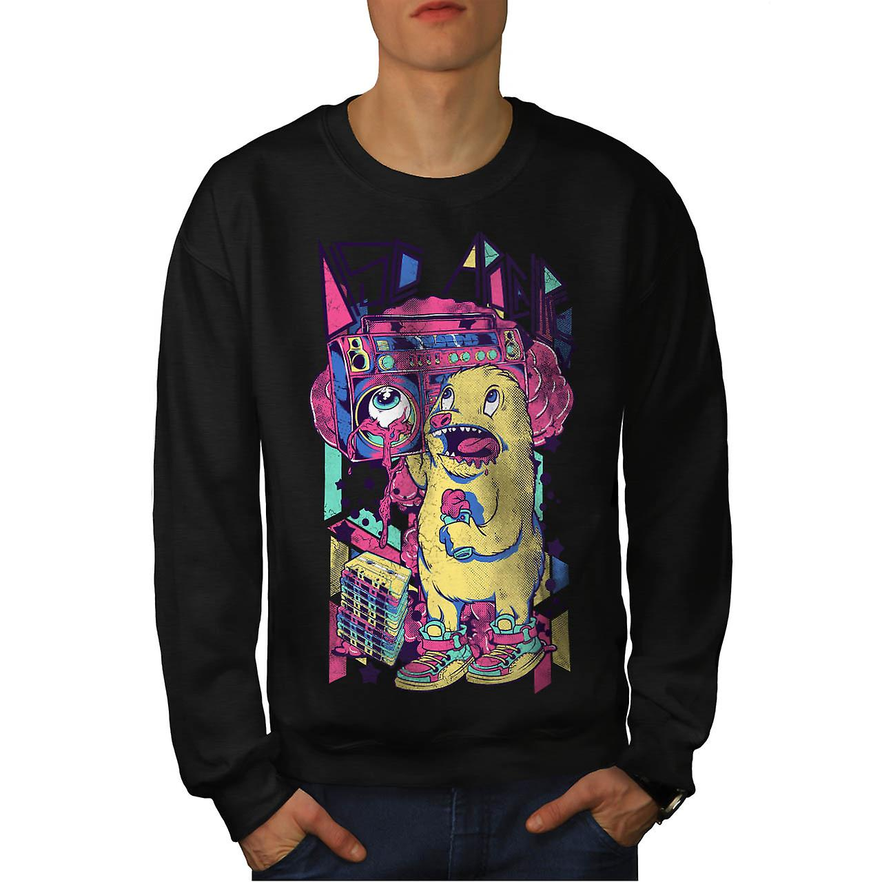 Furry Animal Alien Comic Sound Men Black Sweatshirt | Wellcoda