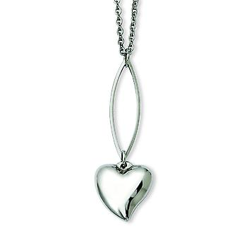 Stainless Steel Polished Heart Y 18inch Necklace - 18 Inch
