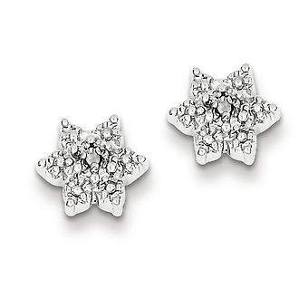Sterling Silver Star Diamond Earrings - .01 dwt